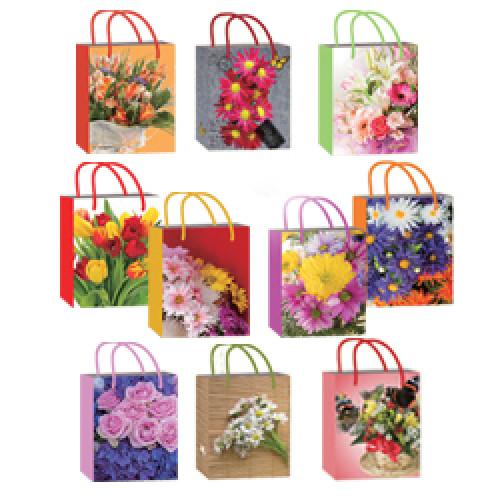 1, Пакет бумажный ламинированый M (18х10х23)  Микс Цветы (10 диз), 4070439, 20  руб., 4070439, EXTRA, Подарочная упаковка
